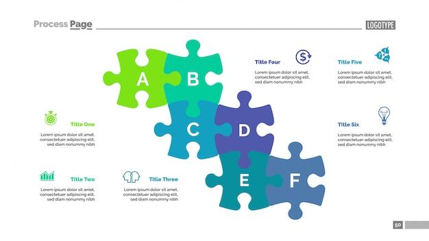 Puzzelkaart met zes elementen sjabloon