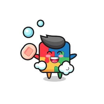 Puzzelkarakter is aan het baden terwijl hij zeep vasthoudt, schattig stijlontwerp voor t-shirt, sticker, logo-element