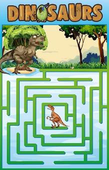 Puzzelmalplaatje met dinosaurusthema