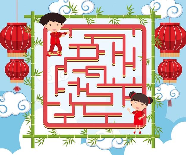 Puzzelsjabloon met chinese kinderen en bamboe
