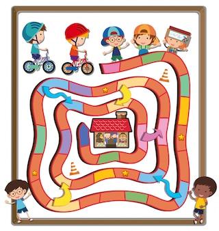 Puzzelsjabloon met kinderen fietsen