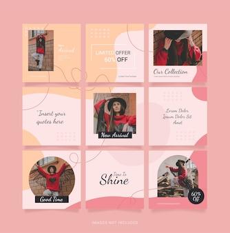 Puzzelsjabloon mode vrouwen feed instagram