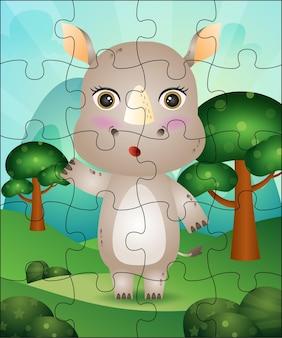 Puzzelspel illustratie voor kinderen met schattige neushoorn