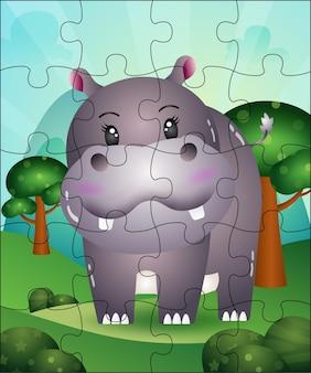 Puzzelspel illustratie voor kinderen met schattige nijlpaard
