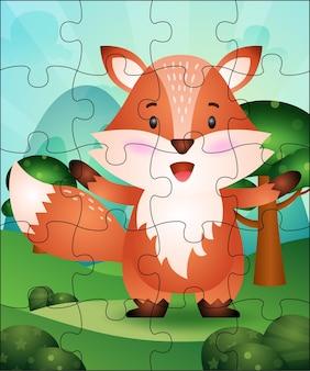 Puzzelspel illustratie voor kinderen met schattige vos