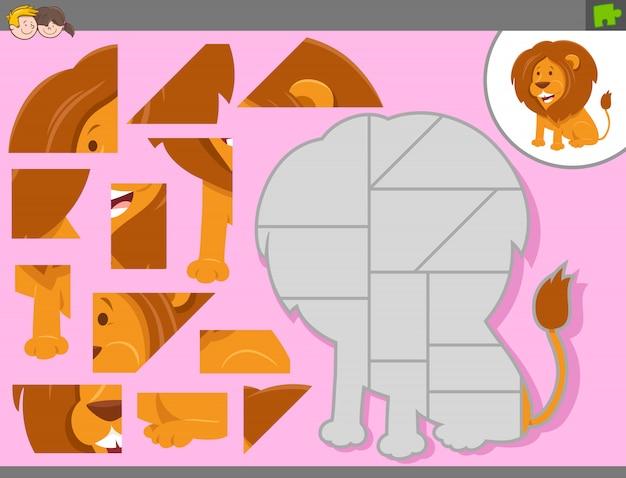 Puzzelspel met cartoon leeuw dier