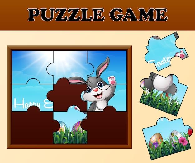 Puzzelspel met gelukkige paashazen