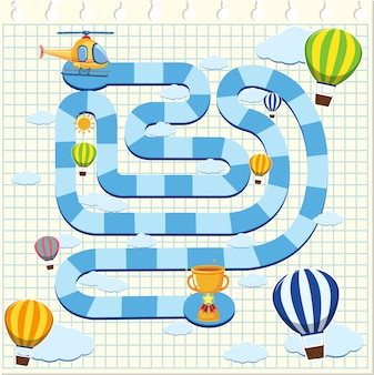 Puzzelspel sjabloon met helikopter en ballonnen in de lucht