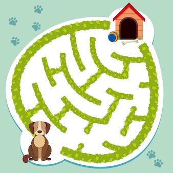 Puzzelspel sjabloon met hond en hondenhok