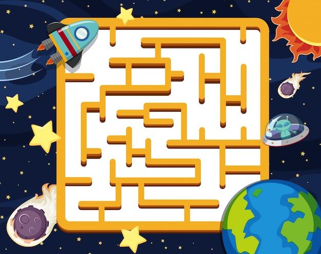 Puzzelspel sjabloon met ruimte achtergrond