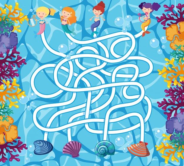 Puzzelspel sjabloon met zeemeerminnen in de oceaan