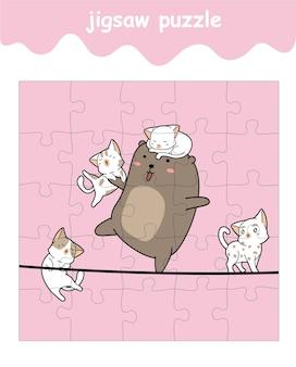 Puzzelspel van beer en 4 katten cartoon