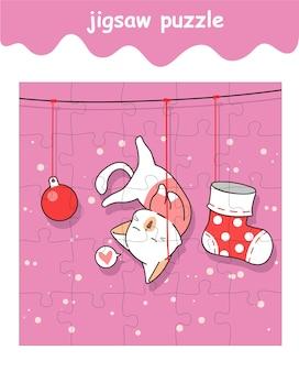 Puzzelspel van kat hangt aan touw cartoon