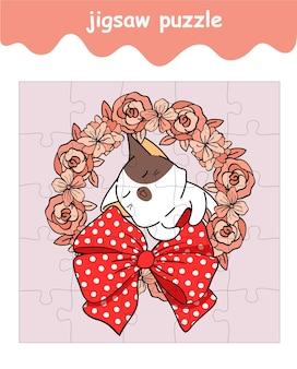 Puzzelspel van kat in cartoon met bloemenkrans