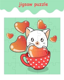 Puzzelspel van kat in de beker met harten cartoon