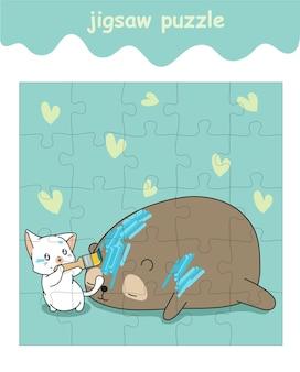 Puzzelspel van kat schildert op berencartoon