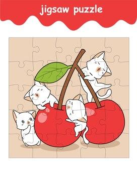 Puzzelspel van katten en kersencartoon