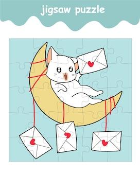 Puzzelspel van schattige kat met liefdesbrief op de maan