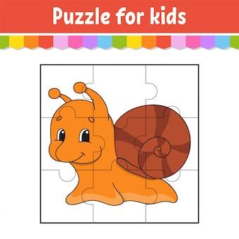 Puzzelspel voor kinderen. jigsaw stukken. kleur werkblad.