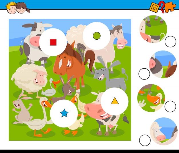 Puzzelspel voor kinderen met landbouwhuisdieren