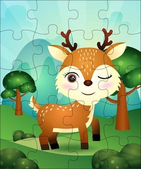 Puzzelspel voor kinderen met schattige herten illustratie