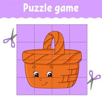 Puzzelspel voor kinderen. onderwijs ontwikkelt werkblad. leerspel voor kinderen. houten mandje.