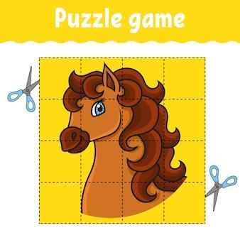 Puzzelspel voor kinderen paardendier