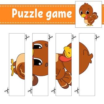 Puzzelspel voor kinderen. snijden praktijk.
