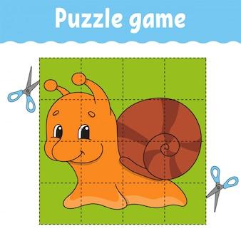 Puzzelspel voor kinderen. werkblad voor het ontwikkelen van onderwijs. leerspel voor kinderen.