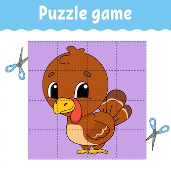 Puzzelspel voor kinderen. werkblad voor het ontwikkelen van onderwijs.