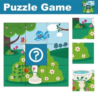 Puzzelspel voor kleuters vind het ontbrekende stuk vectorillustratie