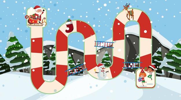 Puzzelspelontwerp met kerstman en kinderen op kerstmis
