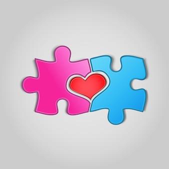 Puzzelstukjes met hartvorm ertussen op grijze achtergrond. twee helften van het geheel. liefde, medisch, relatiesymbool. valentijnsconcept. vectorillustratie.
