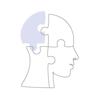 Puzzelvormig hoofd zonder één stuk in één lijntekening. concept van geestelijke gezondheid. vector illustratie
