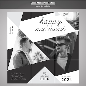 Puzzle fashion social media story template