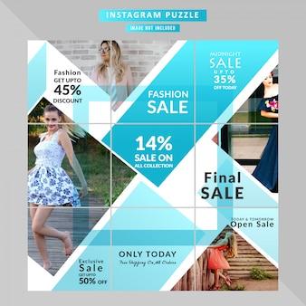 Puzzle fashion web-banner voor sociale mediaberichten
