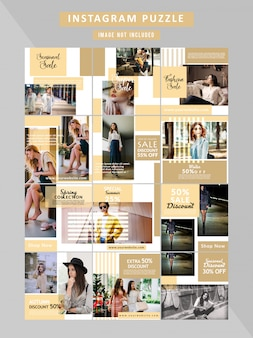 Puzzle fashion webbanner voor sociale media