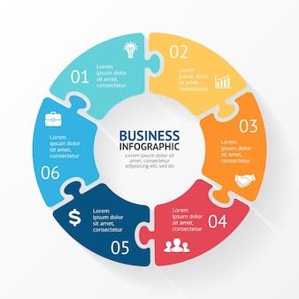 Puzzlevector infographic presentatiesjabloon cirkeldiagramdiagram 6 stappen onderdelen