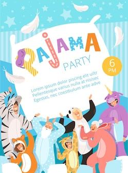 Pyjama-feestje. uitnodiging voor poster voor kostuum, nachtkleding, kleding, pyjama's, plakkaat met kinderen en ouders.