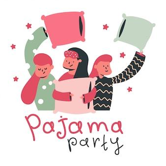 Pyjama party cartoon concept vectorillustratie met schattige meisjes en kussen geïsoleerd.