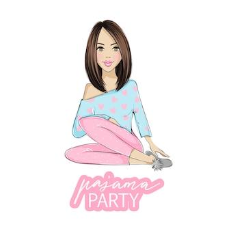 Pyjama party illustratie met mooie jonge brunette vrouw. poster, omslag of banner voor een leuk evenement.