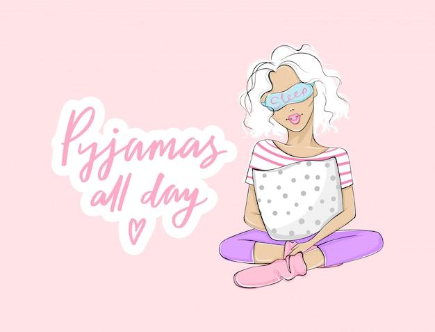 Pyjama's de hele dag. pyjama party illustratie met mooie jonge vrouw, meisje, zittend met een kussen in slaapmasker. roze achtergrond.