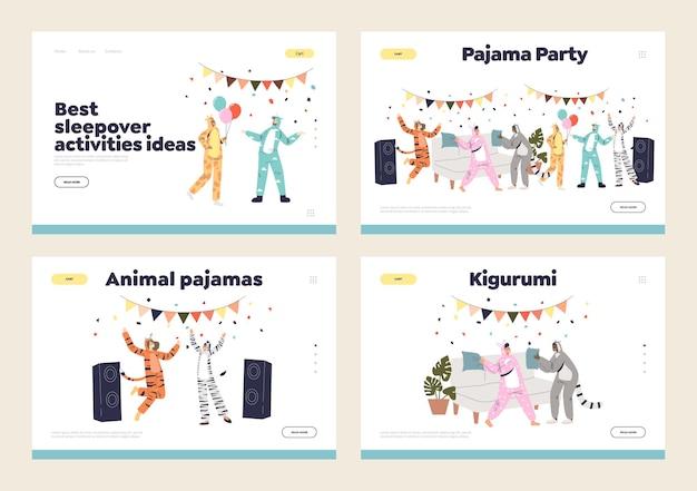 Pyjamafeest met mensen ontspannen, dansen, plezier hebben