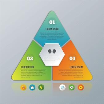 Pyramide infographic op de grijze achtergrond