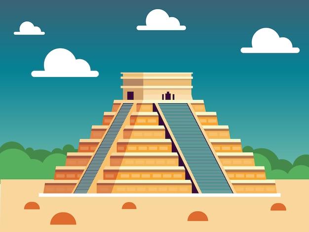 Pyramide op blauwe hemel