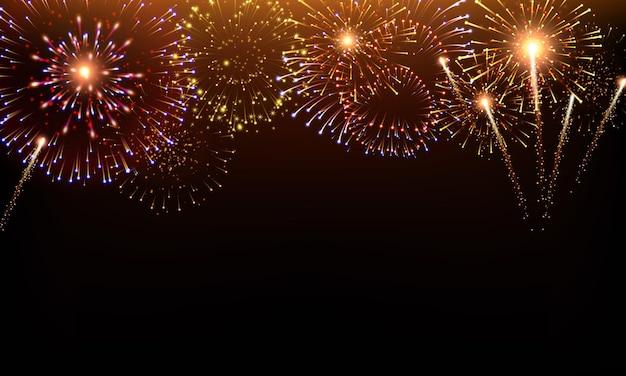 Pyrotechniek en vuurwerk achtergrond met animatie op zwart