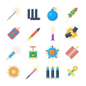Pyrotechniek vector set van pictogrammen in een vlakke stijl