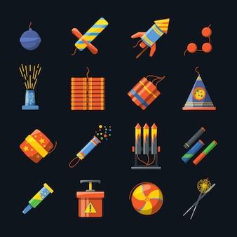Pyrotechniek voor vakanties en verschillende gereedschappen voor vuurshows. vectorpictogrammenreeks van pyrotechnic voetzoeker en petard, raket en bomdynamiet in vlakke stijlillustratie