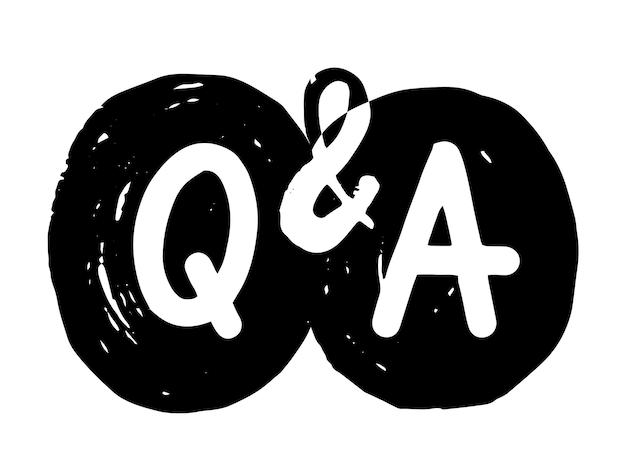 Q en a grunge symbolen, vraag en antwoord concept. veelgestelde vragen, communicatiechatborden voor infographic, media-inhoud