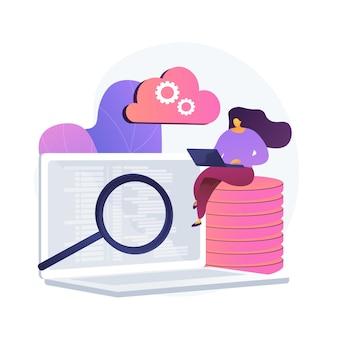 Qa-tester. ontwikkelingskit. analyse van binaire code. nauwe inspectie, codering, open script controleren. website administratie. kwaliteit herbevestigen. vector geïsoleerde concept metafoor illustratie.